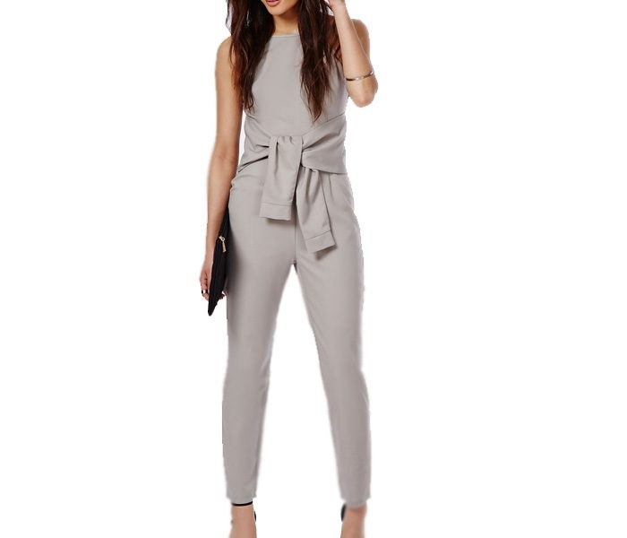 Sleeveless Grey Tie Up Jump Suit in UK and Australia