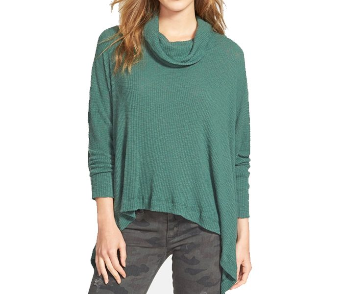 Asymmetric Green Cowl Neck Sweater in UK and Australia