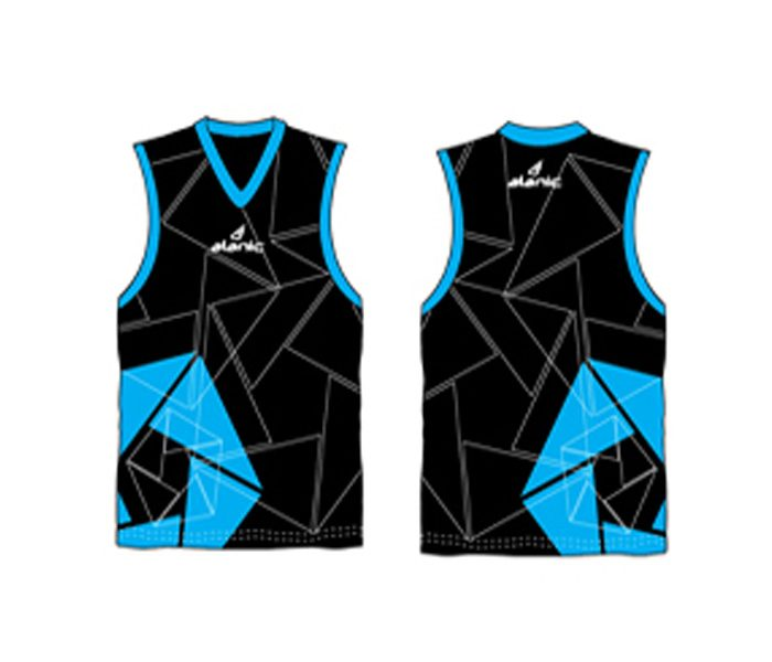 Black and aqua blue printed Australian Football singlet in UK and Australia