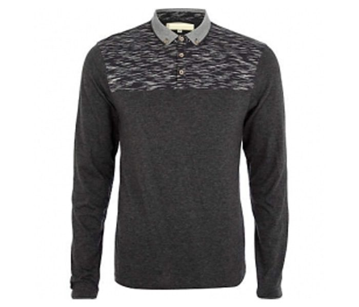 Black and Grey Collar Full Sleeve Polo T Shirt in UK and Australia