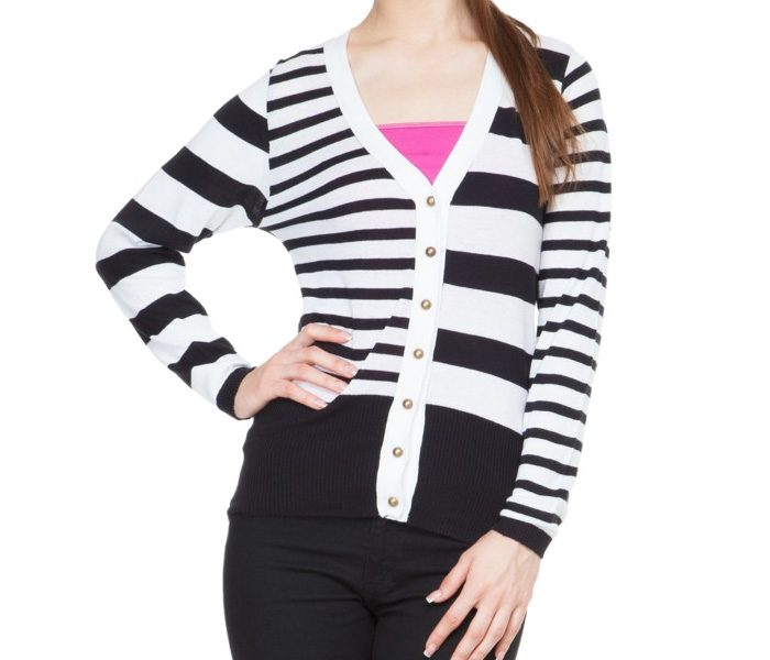 Black & White V Neck Cardigan in UK and Australia