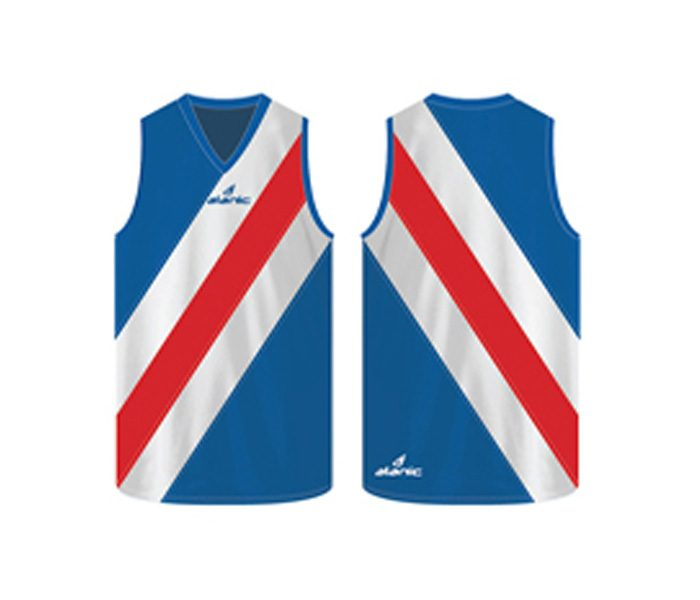 Blue, red and white combo Australian Football singlet in UK and Australia