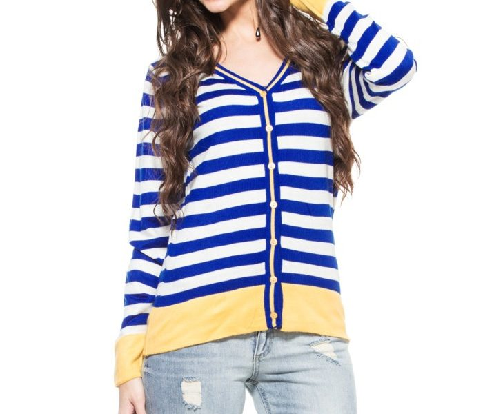Blue Striped Cardigan in UK and Australia