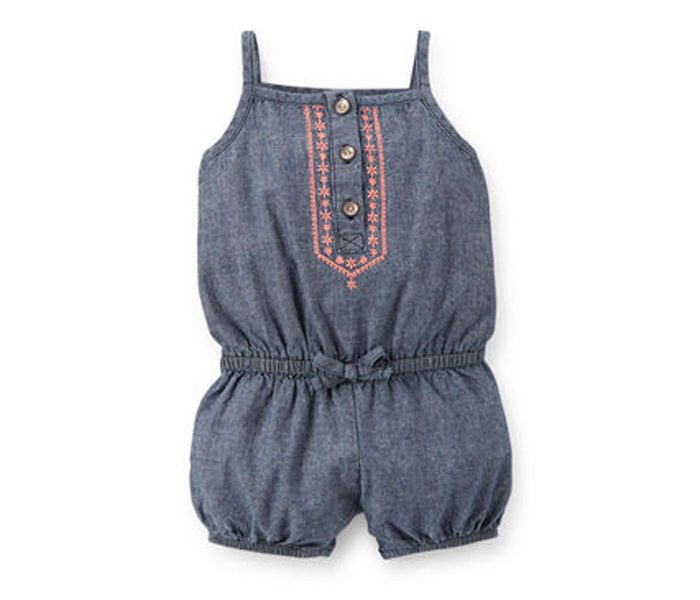 Embroidered Chambray Romper in UK and Australia