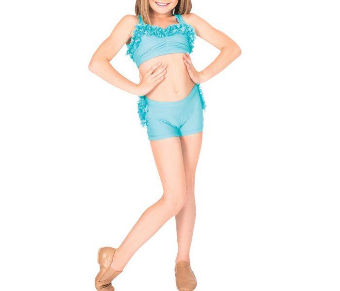 Frilled blue Kids Dancewear in UK and Australia