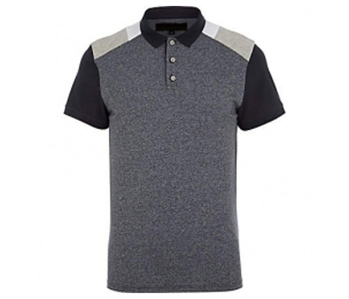Grey and Black Paneled Polo T Shirt in UK and Australia