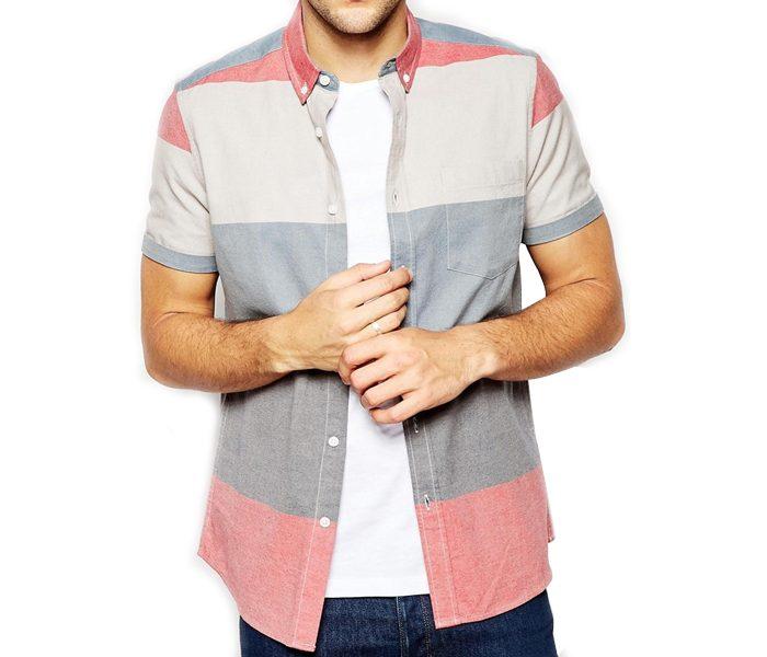 Grey, Cream Red panel Shirt in UK and Australia