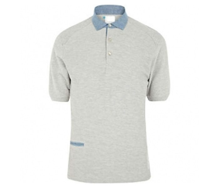 Grey with Blue Collar Polo T Shirt in UK and Australia
