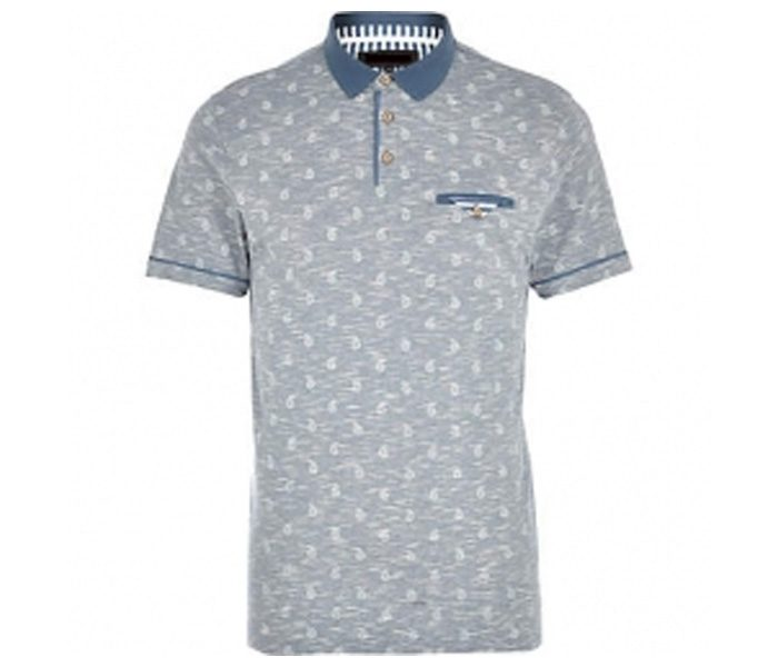 Grey with White Spot Print Polo T Shirt in UK and Australia