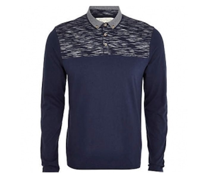 Navy Blue with Print Full Sleeve Polo T Shirt in UK and Australia