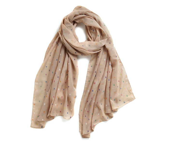 Pale White Mini Polka Dotted Scarf in UK and Australia