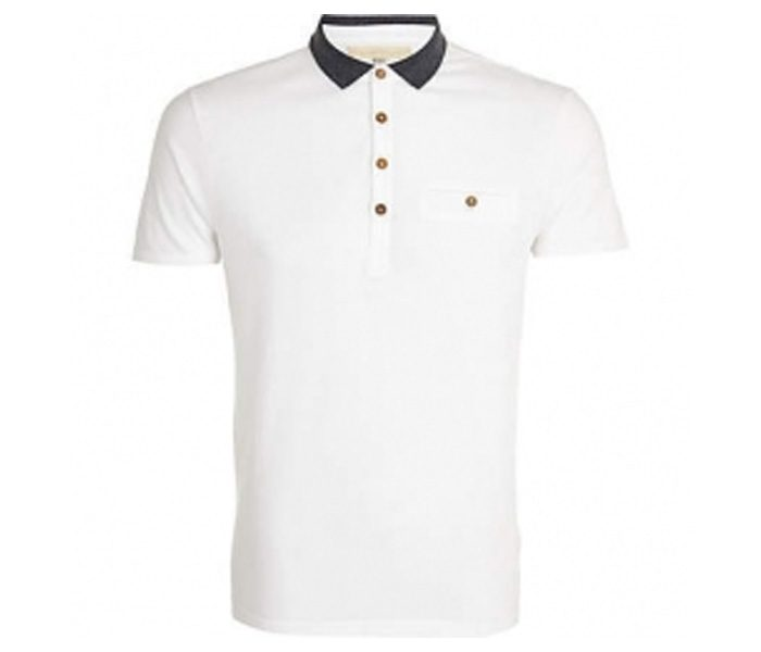 Plain White with Black Collar Polo T Shirt in UK and Australia
