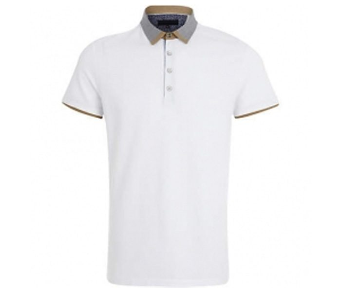 Plain White with Designer Collar Polo T Shirt in UK and Australia