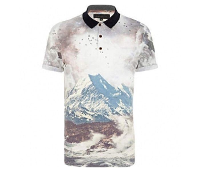White Digital Print Polo T shirt in UK and Australia