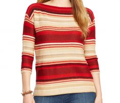 Red And Beige Boat Neck Sweater in UK and Australia