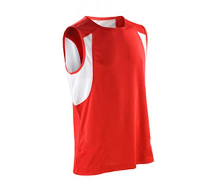 Red and White Athletics Sleeveless Shirt in UK and Australia
