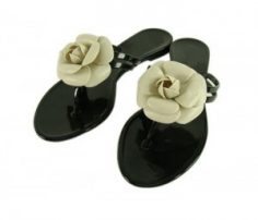Rose on Black Flip Flop Sandals in UK and Australia