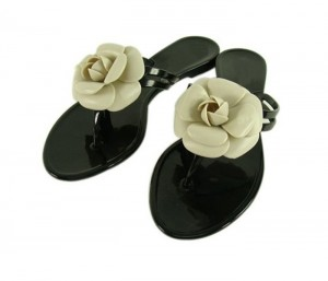 Rose on Black Flip Flop Sandals in UK and Australia