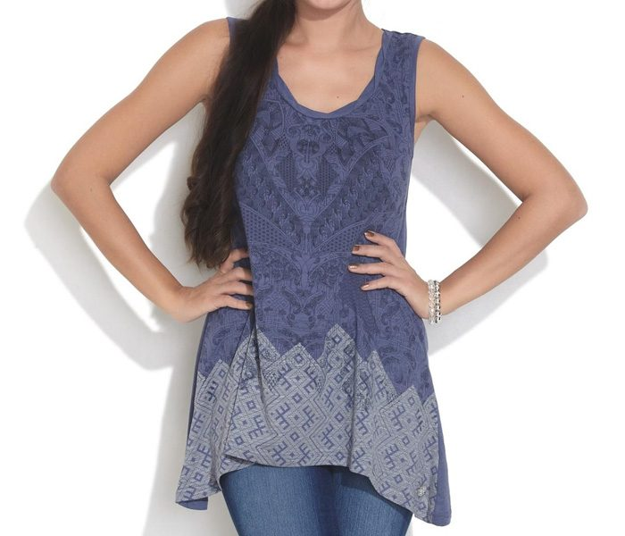 Sleeveless Indigo Printed Jersey in UK and Australia