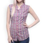 Sleeveless Pink Checked Shirt UK and Australia