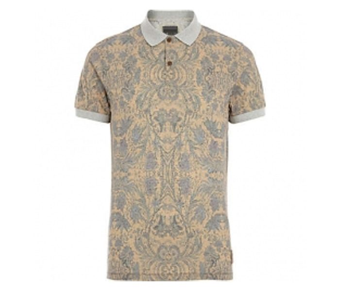 Soft Beige Print Polo T Shirt in UK and Australia