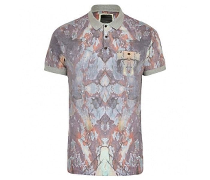 Soft Grey Floral Polo T Shirt in UK and Australia