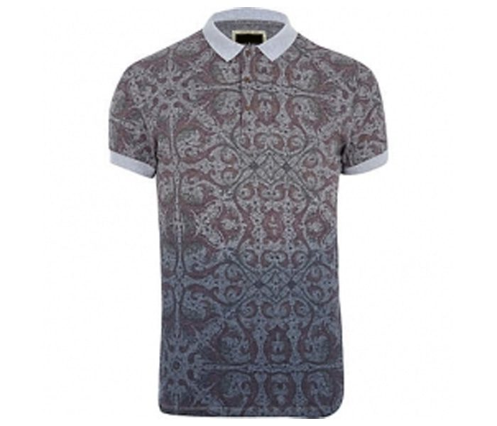 Soft Grey Print Polo T Shirt in UK and Australia