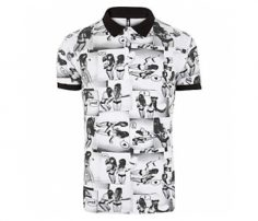 White and Black Printed Polo T Shirt in UK and Australia