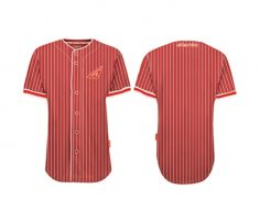 Wholesale White and Red Striped Baseball Shirt in USA