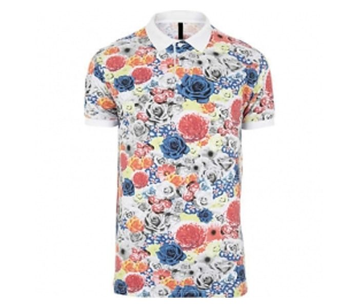 White Floral Polo T Shirt in UK and Australia