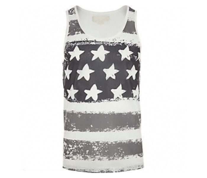 White Sleeveless Designer Print Tee in UK and Australia