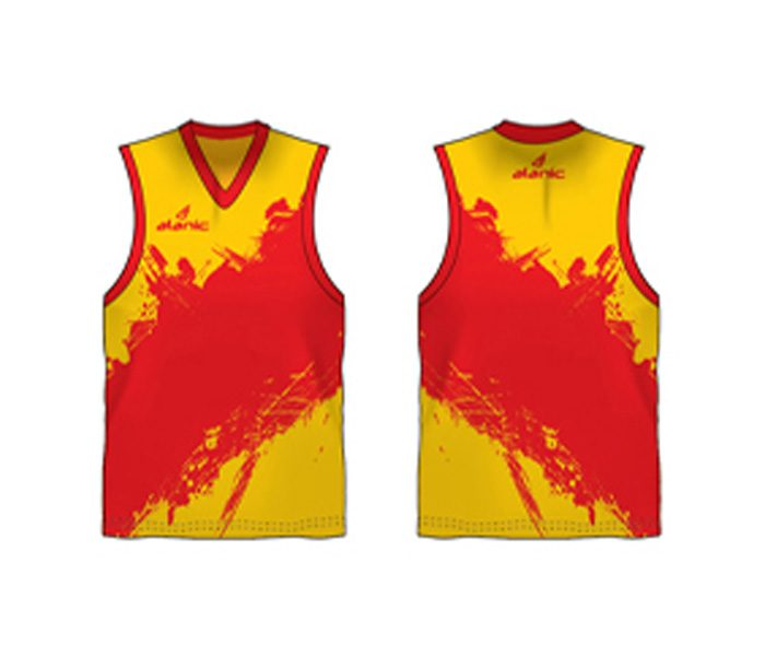 Yellow and red printed Australian Football singlet in UK and Australia