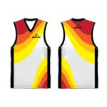 Yellow, red and white combo Australian Football singlet in UK and Australia